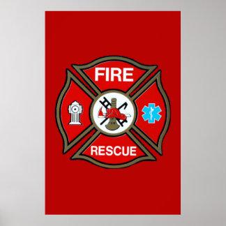 Cruz maltesa del bombero de EMT Poster
