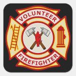 Cruz maltesa del bombero voluntario colcomanias cuadradases