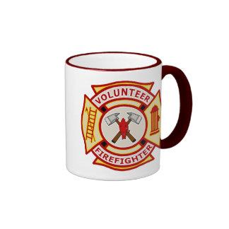 Cruz maltesa del bombero voluntario taza a dos colores