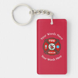 Cruz maltesa del rescate del fuego llavero rectangular acrílico a doble cara