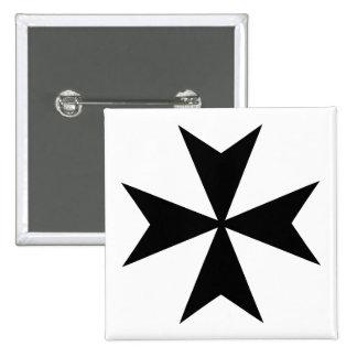 Cruz maltesa negra pin cuadrado