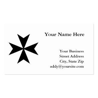 Cruz maltesa negra tarjetas de visita