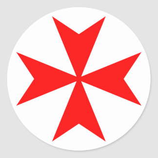 Cruz maltesa pegatina redonda
