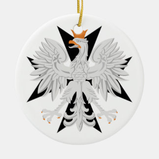 Cruz maltesa polaca de Eagle Adorno Navideño Redondo De Cerámica