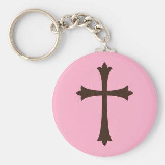 Cruz marrón elegante en elegante simple rosado llavero redondo tipo pin