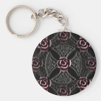Cruz medieval gótica del hierro con el rosa llaveros personalizados