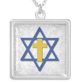 Cruz mesiánica con la estrella de David Colgante Cuadrado