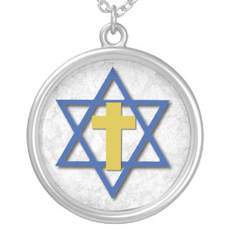Cruz mesiánica con la estrella de David Colgante Redondo