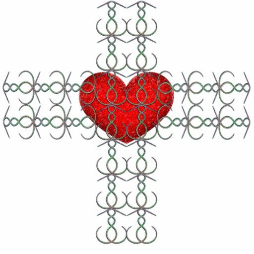 Cruz metálica del Flourish con el corazón rojo Escultura Fotográfica