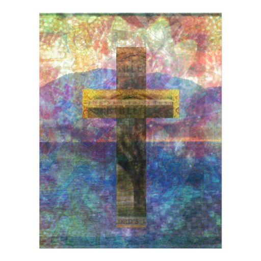 Cruz moderna del arte cristiano contemporáneo plantilla de membrete