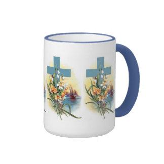 Cruz náutica con las flores taza