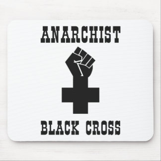 Cruz negra del anarquista tapete de ratones
