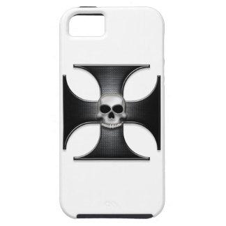 Cruz negra del hierro con el cráneo funda para iPhone 5 tough