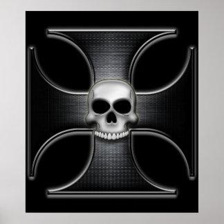 Cruz negra del hierro con el cráneo impresiones