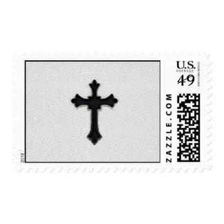 Cruz negra del metal sellos postales