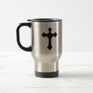 Cruz negra del metal taza de viaje