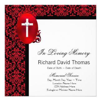Cruz negra roja del damasco en monumento cariñoso  invitaciones personalizada