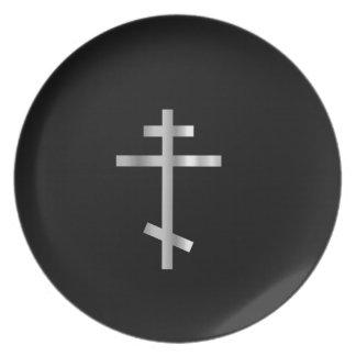 Cruz ortodoxa del cristianismo platos