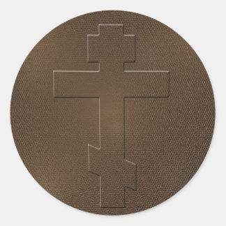Cruz ortodoxa etiquetas redondas