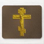 Cruz ortodoxa rusa de oro alfombrilla de ratón