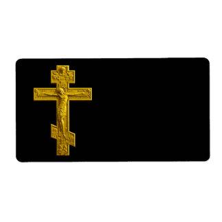 Cruz ortodoxa rusa de oro etiquetas de envío