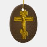 Cruz ortodoxa rusa de oro ornamentos de reyes