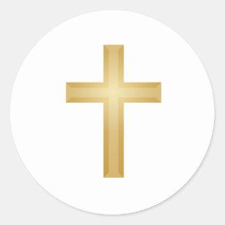 Cruz/Pascua del oro Pegatina Redonda