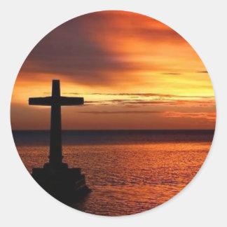 cruz pegatina redonda