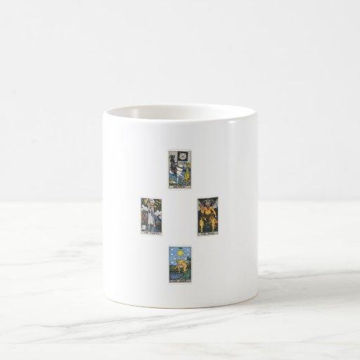 Cruz ponen tarot 4 tarjetas 4 cross spread cards taza de café