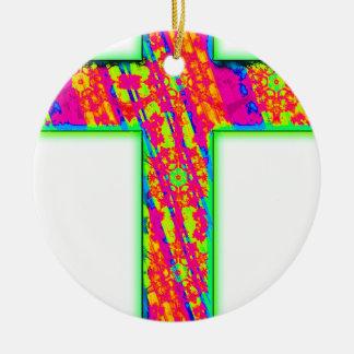 Cruz psicodélica adorno navideño redondo de cerámica