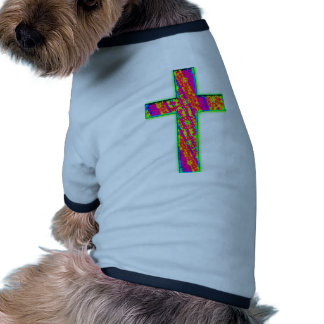 Cruz psicodélica camiseta de perro