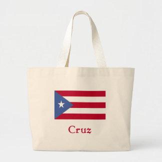 Cruz Puerto Rican Flag Large Tote Bag