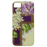 Cruz púrpura con las flores iPhone 5 funda