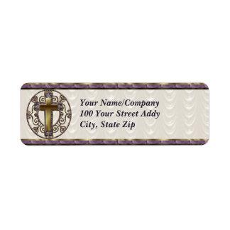 Cruz púrpura etiqueta de remite