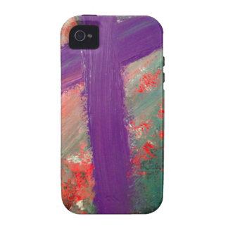 Cruz púrpura iPhone 4 funda