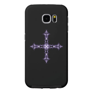 Cruz púrpura gótica del fractal funda samsung galaxy s6