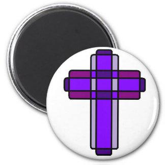 Cruz púrpura imán redondo 5 cm