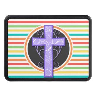 Cruz púrpura; Rayas brillantes del arco iris Tapas De Remolque