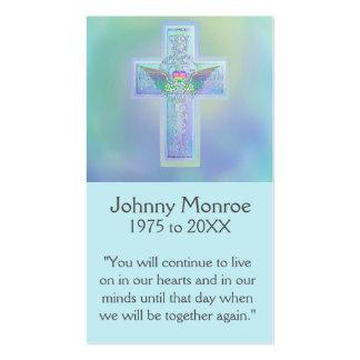 Cruz que brilla intensamente azul conmemorativa de tarjetas de visita