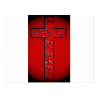 Cruz que brilla intensamente roja postales