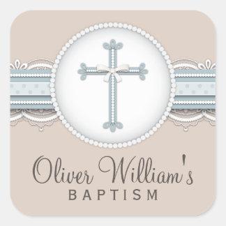 Cruz religiosa beige de la celebración de los azul pegatinas cuadradases personalizadas