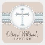 Cruz religiosa beige de la celebración de los pegatinas cuadradases personalizadas