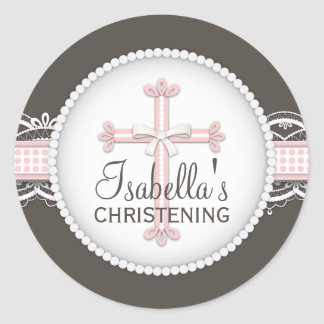 Cruz religiosa de la celebración del cordón bonito etiqueta redonda