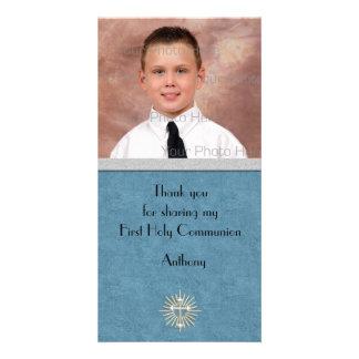Cruz religiosa de la plata del trullo tarjeta fotográfica