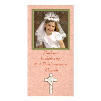 Cruz religiosa del blanco del melocotón tarjetas fotograficas personalizadas
