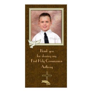 Cruz religiosa Paisley de la paloma Tarjeta Con Foto Personalizada