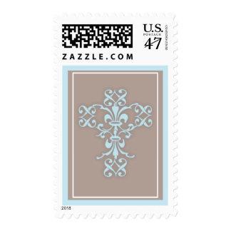 Cruz religiosa santa simple en azul timbre postal
