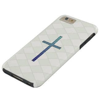 Cruz-Religioso ondulada azul Funda Para iPhone 6 Plus Tough