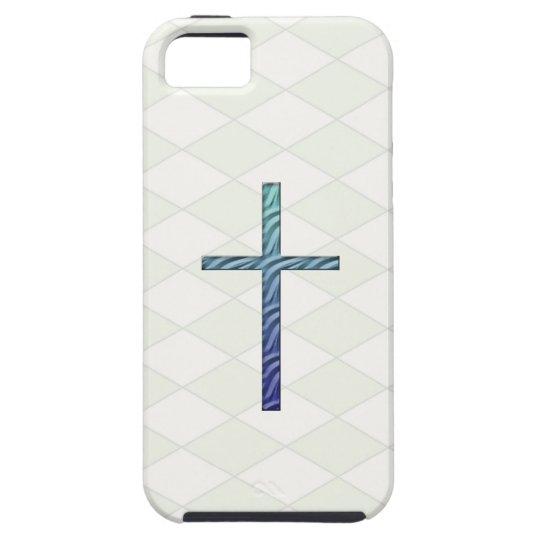 Cruz-Religioso ondulada azul Funda Para iPhone SE/5/5s