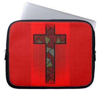 Cruz roja coloreada del resplandor manga portátil